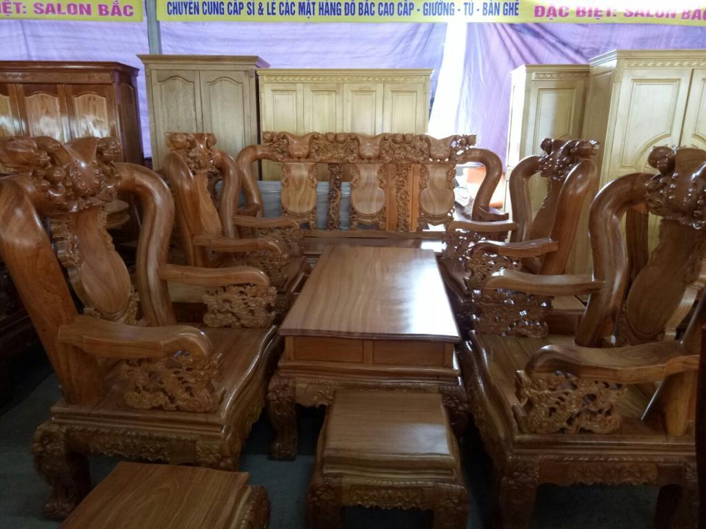 Bàn ghế salong  gỗ đỏ