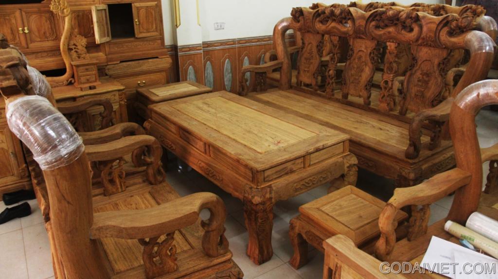 Bộ bàn ghế Quốc Đào – Gỗ Gụ – Cột 12 – 6 món